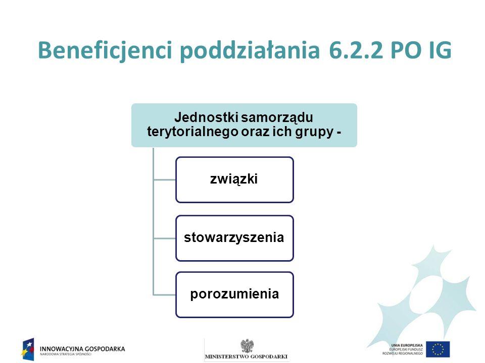Beneficjenci poddziałania 6.2.2 PO IG Jednostki samorządu terytorialnego oraz ich grupy - związkistowarzyszeniaporozumienia