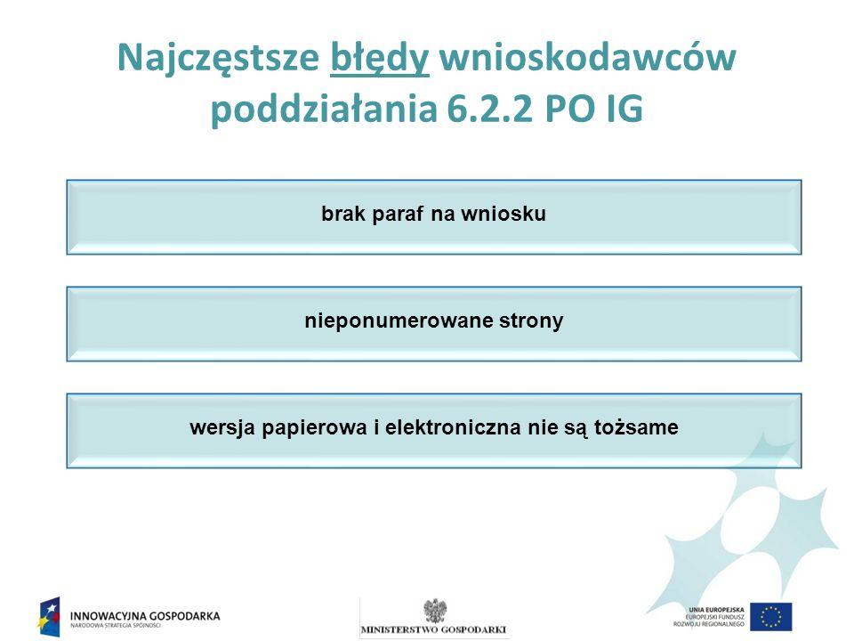 Najczęstsze błędy wnioskodawców poddziałania 6.2.2 PO IG brak paraf na wniosku nieponumerowane strony wersja papierowa i elektroniczna nie są tożsame