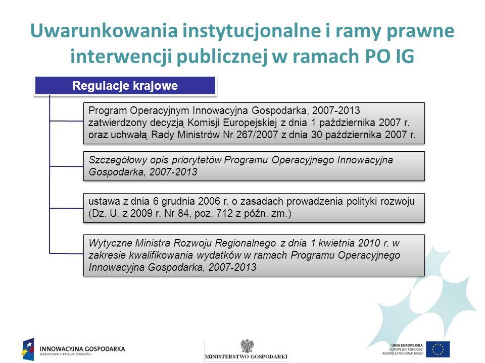 Cele Programu Operacyjnego Innowacyjna Gospodarka Rozwój polskiej gospodarki w oparciu o innowacyjne przedsiębiorstw a Główny cel PO IG