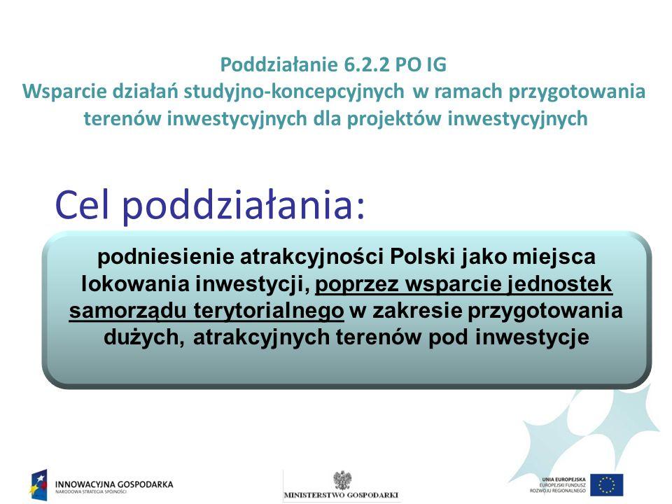 Poddziałanie 6.2.2 PO IG Wsparcie działań studyjno-koncepcyjnych w ramach przygotowania terenów inwestycyjnych dla projektów inwestycyjnych Cel poddziałania: podniesienie atrakcyjności Polski jako miejsca lokowania inwestycji, poprzez wsparcie jednostek samorządu terytorialnego w zakresie przygotowania dużych, atrakcyjnych terenów pod inwestycje