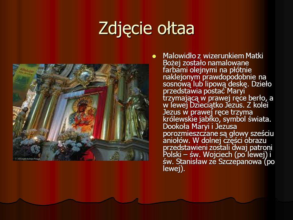 Zdjęcie ołtaa Malowidło z wizerunkiem Matki Bożej zostało namalowane farbami olejnymi na płótnie naklejonym prawdopodobnie na sosnową lub lipową deskę.