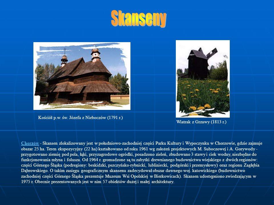 Chorzów - Skansen zlokalizowany jest w południowo-zachodniej części Parku Kultury i Wypoczynku w Chorzowie, gdzie zajmuje obszar 25 ha. Teren ekspozyc