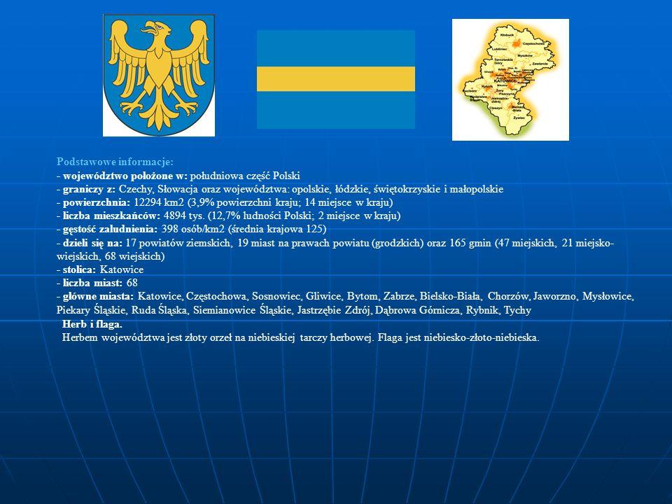 Podstawowe informacje: - województwo położone w: południowa część Polski - graniczy z: Czechy, Słowacja oraz województwa: opolskie, łódzkie, świętokrz