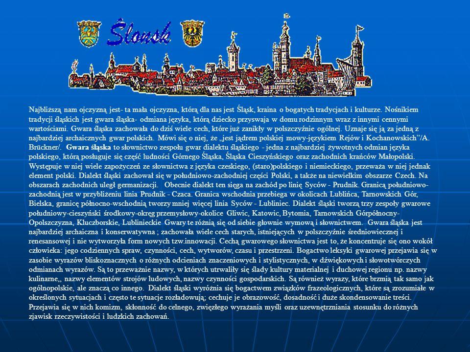 Najbliższą nam ojczyzną jest- ta mała ojczyzna, którą dla nas jest Śląsk, kraina o bogatych tradycjach i kulturze. Nośnikiem tradycji śląskich jest gw