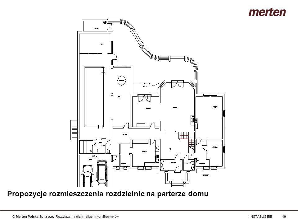 © Merten Polska Sp. z o.o. Rozwiązania dla Inteligentnych Budynków INSTABUS EIB10 Propozycje rozmieszczenia rozdzielnic na parterze domu