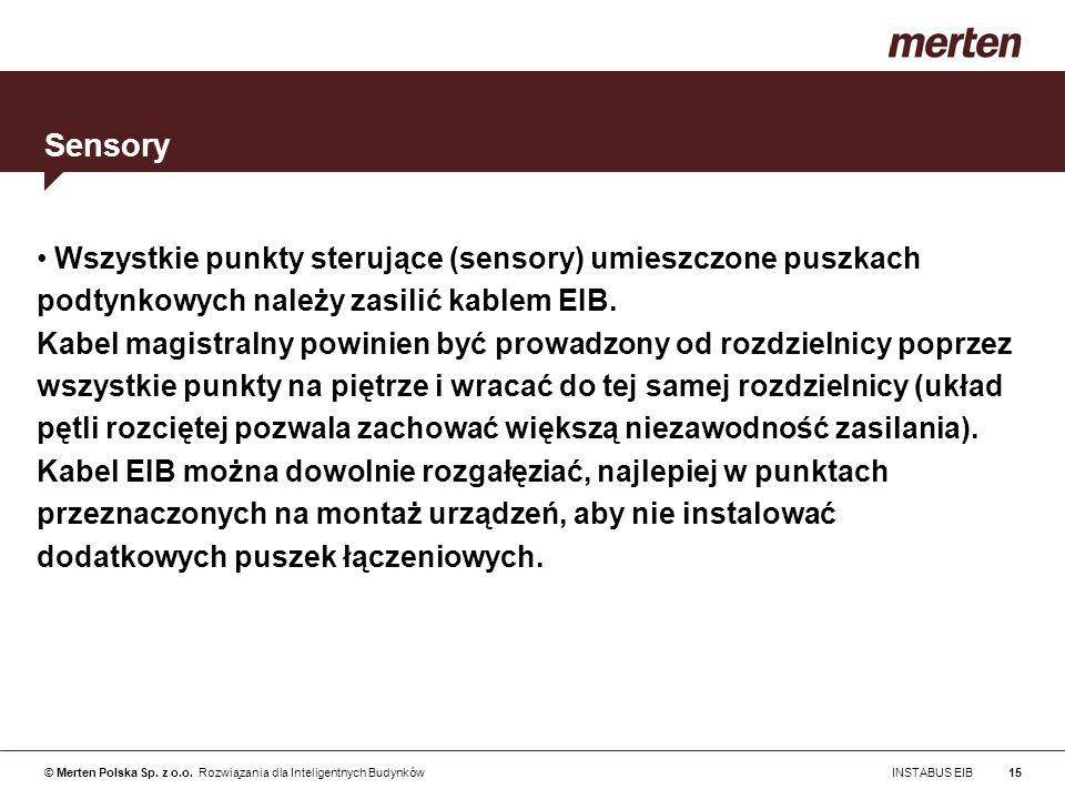 © Merten Polska Sp. z o.o. Rozwiązania dla Inteligentnych Budynków INSTABUS EIB15 Wszystkie punkty sterujące (sensory) umieszczone puszkach podtynkowy