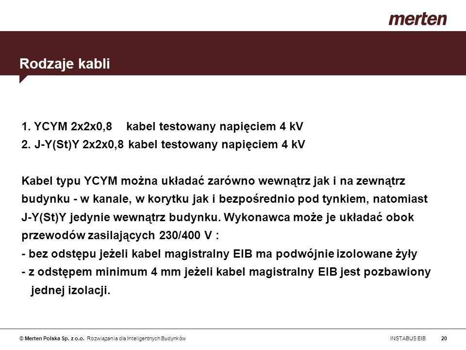 © Merten Polska Sp. z o.o. Rozwiązania dla Inteligentnych Budynków INSTABUS EIB20 1. YCYM 2x2x0,8 kabel testowany napięciem 4 kV 2. J-Y(St)Y 2x2x0,8 k