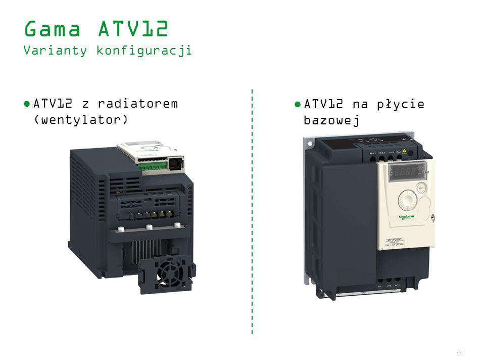 11 ATV12 z radiatorem (wentylator) Gama ATV12 Varianty konfiguracji ATV12 na płycie bazowej