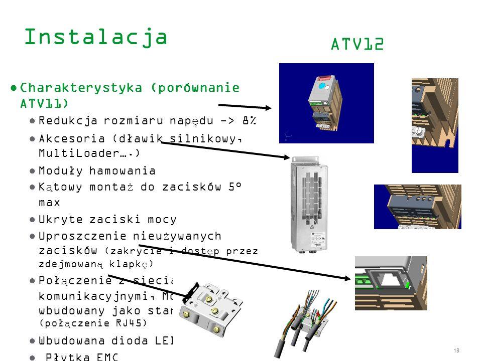 18 Instalacja Charakterystyka (porównanie ATV11) Redukcja rozmiaru napędu -> 8% Akcesoria (dławik silnikowy, MultiLoader….) Moduły hamowania Kątowy mo