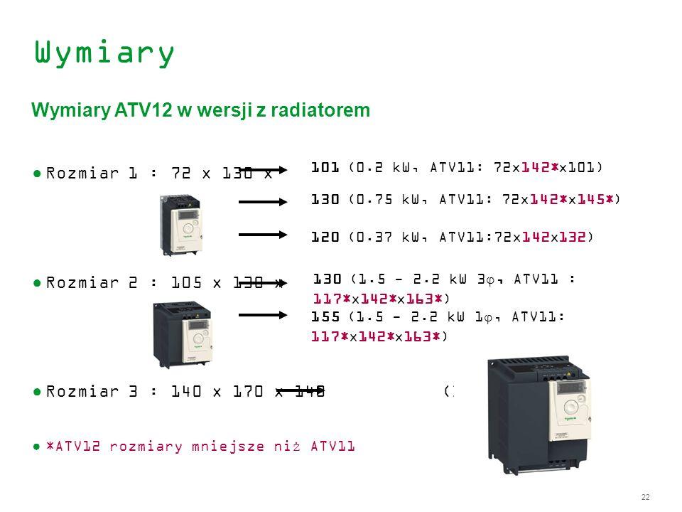 22 Wymiary Rozmiar 1 : 72 x 130 x Rozmiar 2 : 105 x 130 x Rozmiar 3 : 140 x 170 x 140 (3 - 4 kW) *ATV12 rozmiary mniejsze niż ATV11 Wymiary ATV12 w we