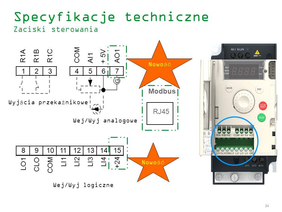 24 Specyfikacje techniczne Zaciski sterowania 123 R1A R1BR1C 4567 COMAI1 + 5V AO1 89101112131415 LO1 CLO COM LI1LI2LI3LI4 +24 Modbus RJ45 Nowość Wyjśc