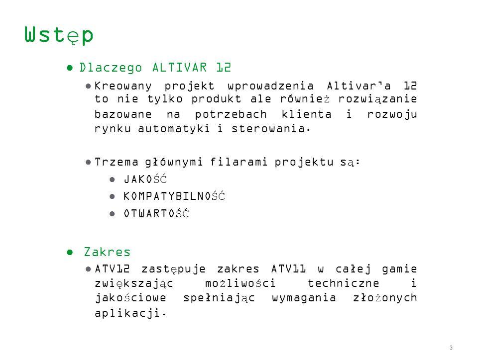 3 Wstęp Dlaczego ALTIVAR 12 Kreowany projekt wprowadzenia Altivara 12 to nie tylko produkt ale również rozwiązanie bazowane na potrzebach klienta i ro