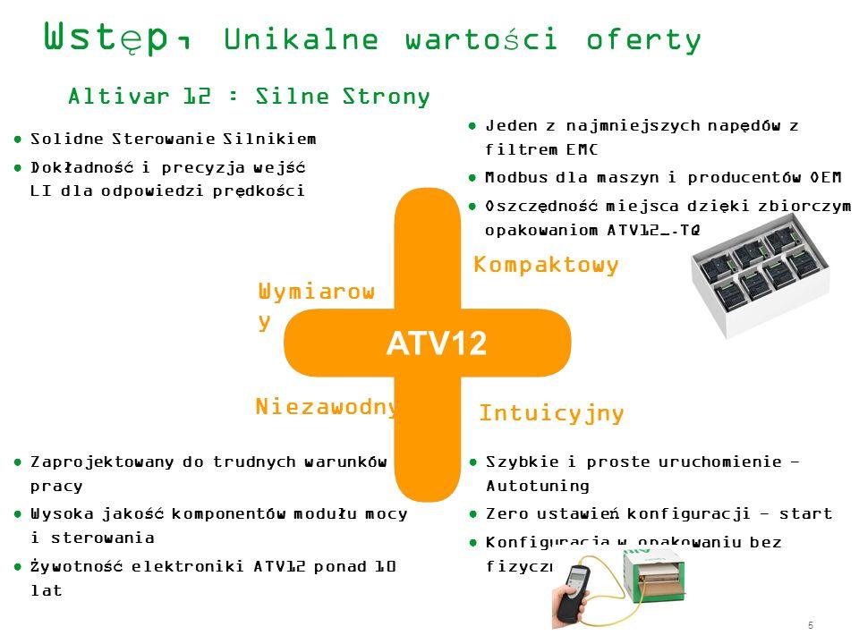 5 Wymiarow y Wstęp, Unikalne wartości oferty Altivar 12 : Silne Strony Solidne Sterowanie Silnikiem Dokładność i precyzja wejść LI dla odpowiedzi pręd