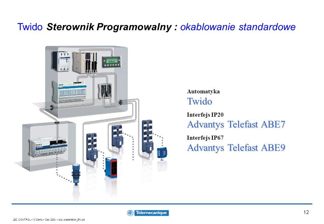 LEC CONTROL – M.Denis – Dec 2004 – bud presentation_EN.ppt 12 Twido Automatyka Twido Advantys Telefast ABE7 Interfejs IP20 Advantys Telefast ABE7 Adva