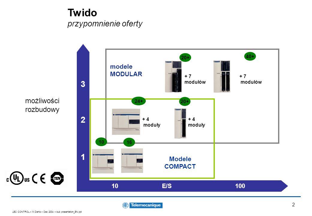 LEC CONTROL – M.Denis – Dec 2004 – bud presentation_EN.ppt 3 3 nowe modele sterowników Compact - zasilanie 24 VDC Compact 16 we/wy 9 wejść 7 wyjść TWD LCDA 16 DRF Compact 10 we/wy 6 wejść 4 wyjścia TWD LCDA 10 DRF Compact 24 we/wy 14 wejść 10 wyjść TWD LCDA 24 DRF