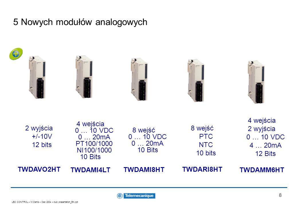 LEC CONTROL – M.Denis – Dec 2004 – bud presentation_EN.ppt 9 ConneXium Twidoport Mostek Modbus / Ethernet Może być użyty z każdym sterownikiem Twido (wymagany firmware V3.0 i wyższy) Nie wymaga zewnętrznego zasilania (zasilanie z portu komunikacyjnego Twido) Prędkość: 10/100M Tryb Slave Przeładowanie aplikacji, animacja zmiennych, modyfikacje On-line, Stop / Run …..