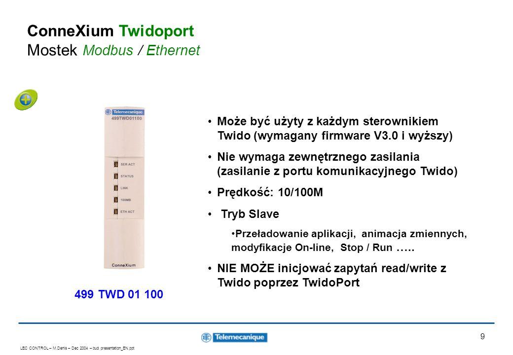 LEC CONTROL – M.Denis – Dec 2004 – bud presentation_EN.ppt 9 ConneXium Twidoport Mostek Modbus / Ethernet Może być użyty z każdym sterownikiem Twido (