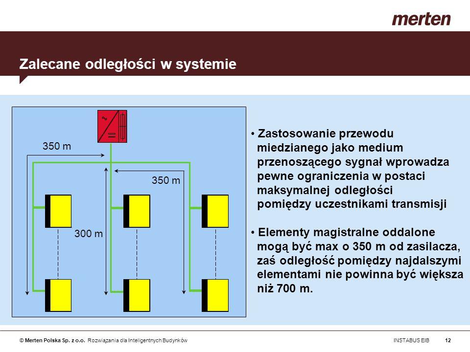© Merten Polska Sp. z o.o. Rozwiązania dla Inteligentnych Budynków INSTABUS EIB12 350 m 300 m Zalecane odległości w systemie Zastosowanie przewodu mie