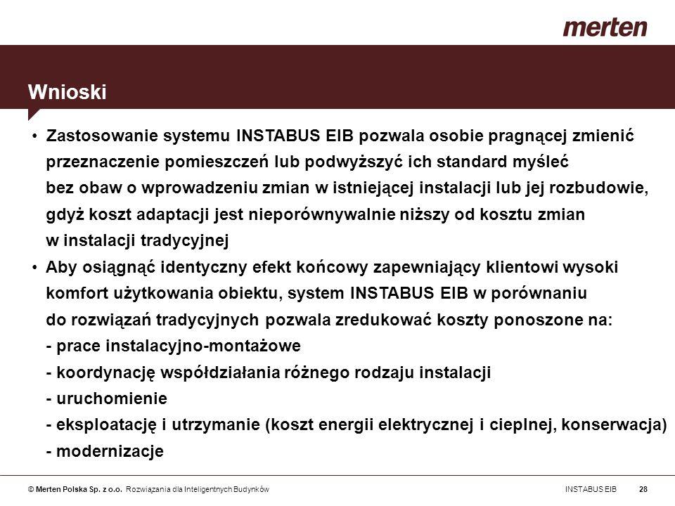 © Merten Polska Sp. z o.o. Rozwiązania dla Inteligentnych Budynków INSTABUS EIB28 Zastosowanie systemu INSTABUS EIB pozwala osobie pragnącej zmienić p