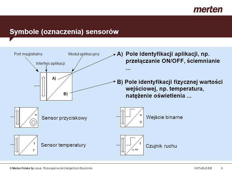 © Merten Polska Sp. z o.o. Rozwiązania dla Inteligentnych Budynków INSTABUS EIB3 Symbole (oznaczenia) sensorów A)Pole identyfikacji aplikacji, np. prz