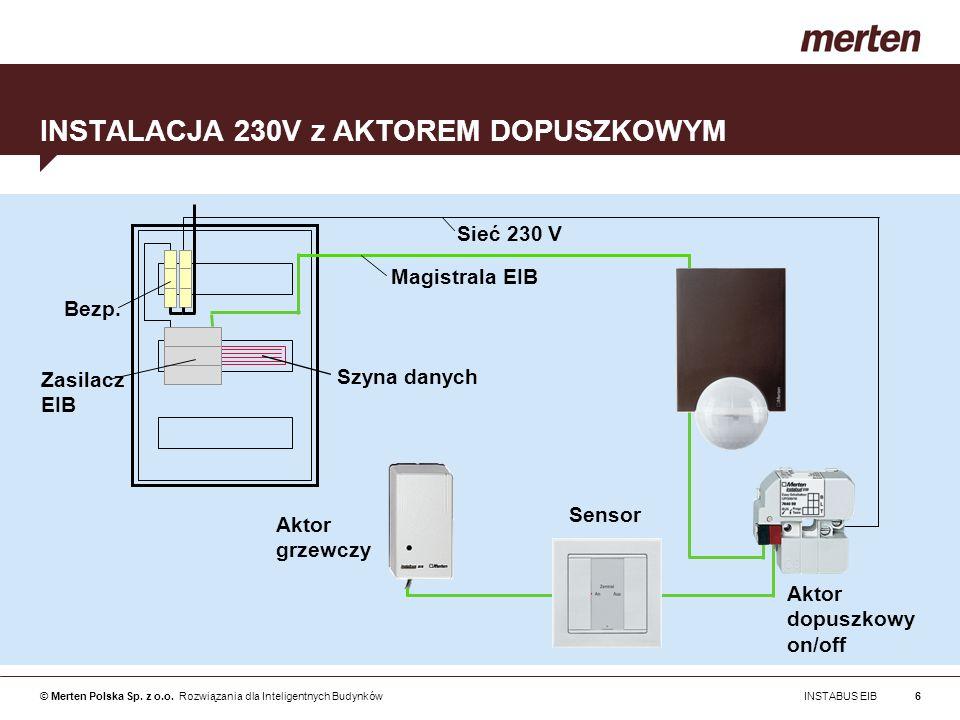 © Merten Polska Sp. z o.o. Rozwiązania dla Inteligentnych Budynków INSTABUS EIB6 INSTALACJA 230V z AKTOREM DOPUSZKOWYM Magistrala EIB Bezp. Szyna dany