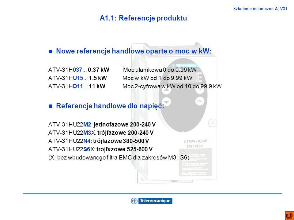 Szkolenie techniczne ATV31 A1.1: Referencje produktu Nowe referencje handlowe oparte o moc w kW: ATV-31H037..: 0.37 kW Moc ułamkowa 0 do 0.99 kW ATV-3