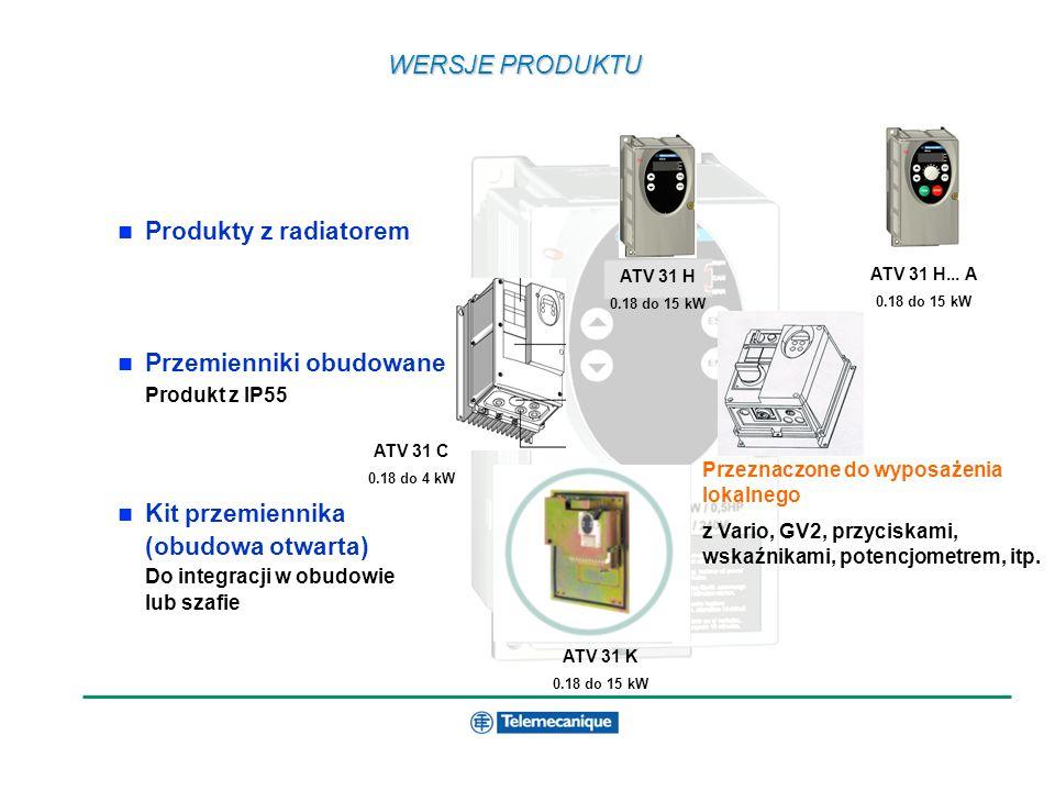 WERSJE PRODUKTU Produkty z radiatorem Przemienniki obudowane Produkt z IP55 Kit przemiennika (obudowa otwarta) Do integracji w obudowie lub szafie ATV