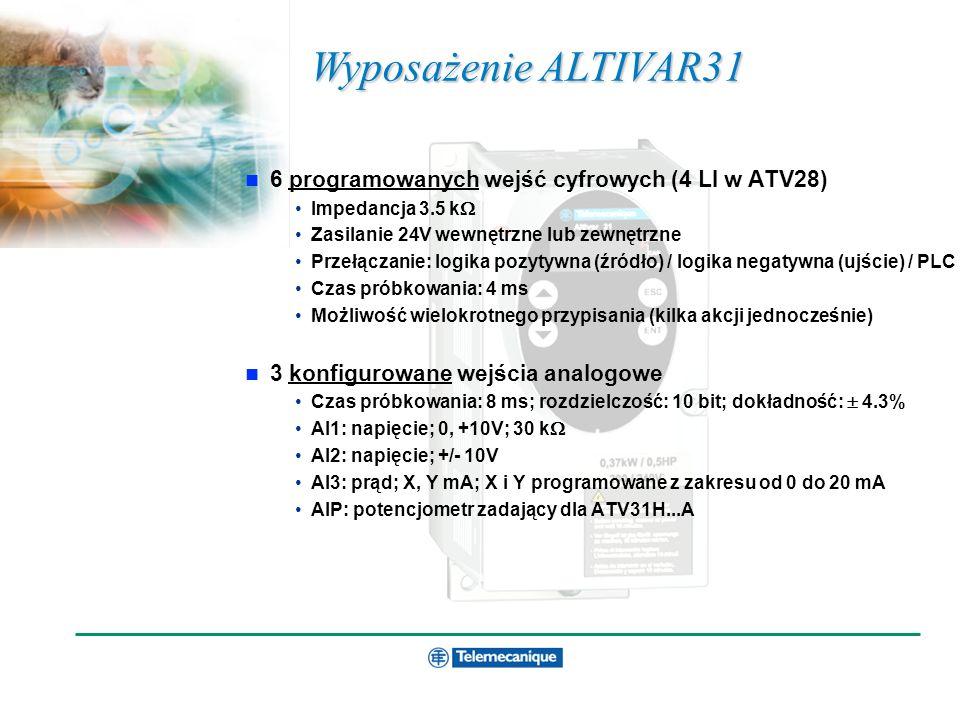 Szkolenie techniczne ATV31 Wyposażenie ALTIVAR31 6 programowanych wejść cyfrowych (4 LI w ATV28) Impedancja 3.5 k Zasilanie 24V wewnętrzne lub zewnętr