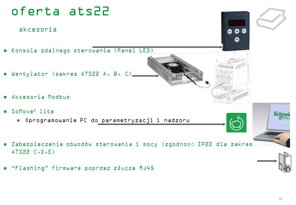 15 Konsola zdalnego sterowania (Panel LED) Wentylator (zakres ATS22 A, B, C) Akcesoria Modbus SoMove ® lite Oprogramowanie PC do parametryzacji i nadz