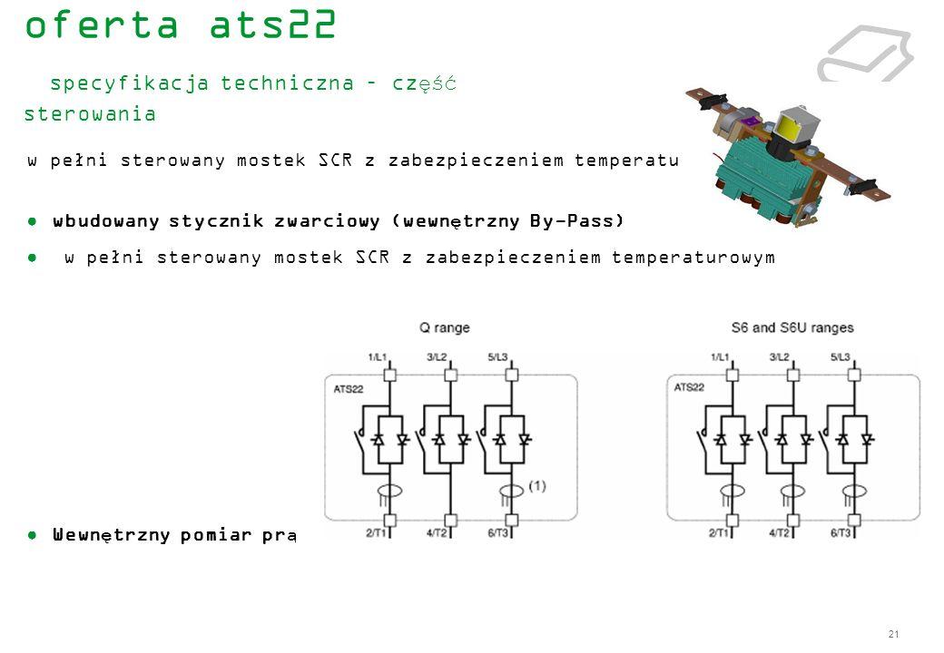 21 w pełni sterowany mostek SCR z zabezpieczeniem temperaturowym wbudowany stycznik zwarciowy (wewnętrzny By-Pass) w pełni sterowany mostek SCR z zabe