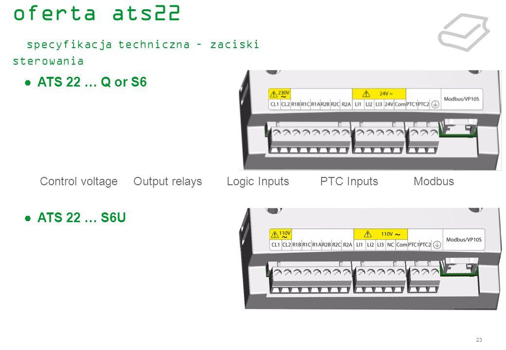 23 Control voltageOutput relaysLogic InputsPTC InputsModbus ATS 22 … Q or S6 ATS 22 … S6U oferta ats22 specyfikacja techniczna – zaciski sterowania