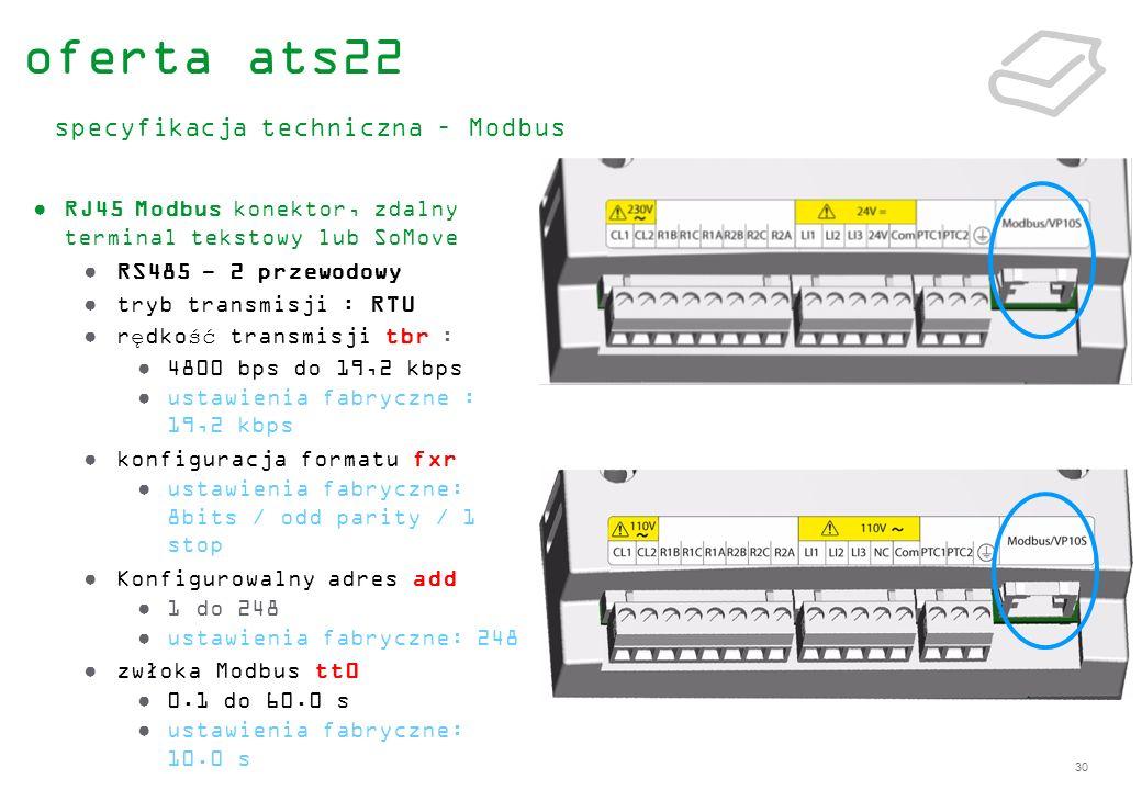 30 RJ45 Modbus konektor, zdalny terminal tekstowy lub SoMove RS485 - 2 przewodowy tryb transmisji : RTU rędkość transmisji tbr : 4800 bps do 19,2 kbps