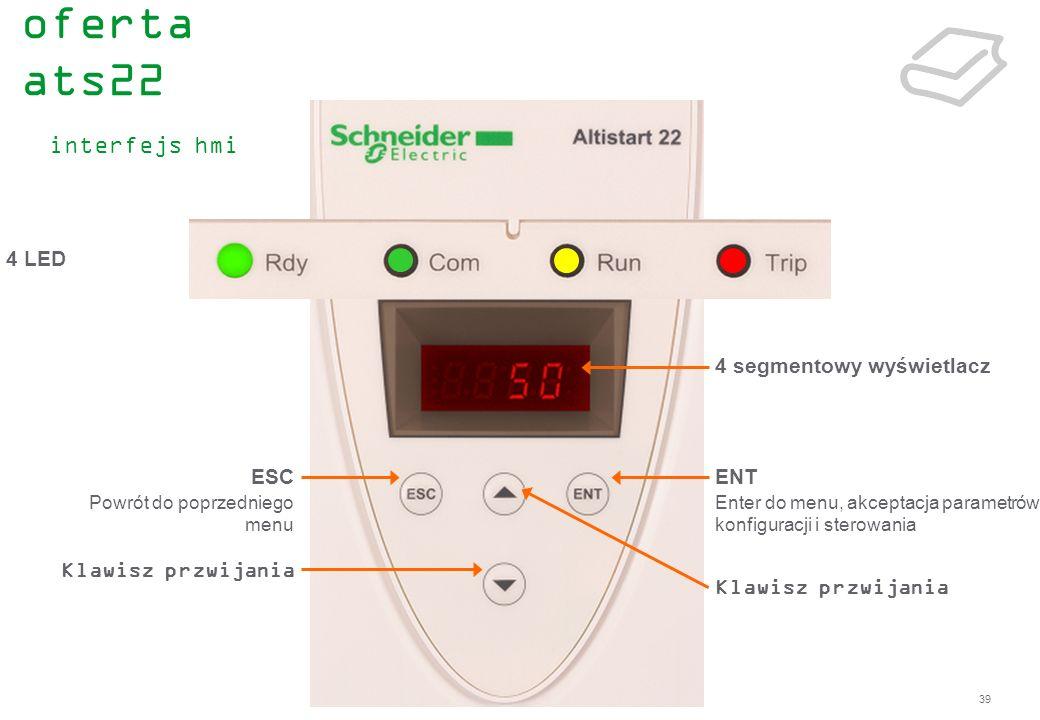 39 4 LED ESC Powrót do poprzedniego menu Klawisz przwijania ENT Enter do menu, akceptacja parametrów konfiguracji i sterowania 4 segmentowy wyświetlac