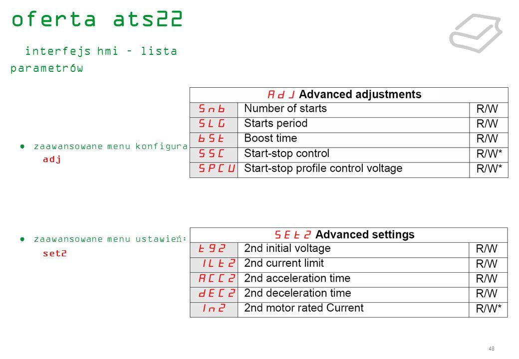 48 zaawansowane menu konfiguracji : adj zaawansowane menu ustawień: set2 oferta ats22 interfejs hmi – lista parametrów