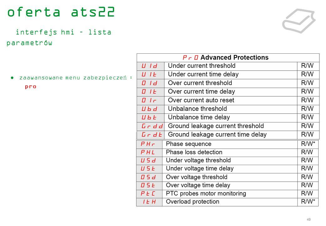 49 zaawansowane menu zabezpieczeń : pro oferta ats22 interfejs hmi – lista parametrów