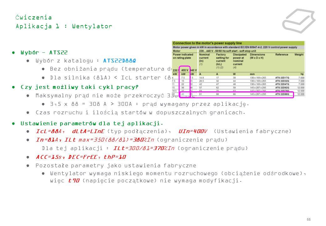 55 Ćwiczenia Aplikacja 1 : Wentylator Wybór - ATS22 Wybór z katalogu : ATS22D88Q Bez obniżania prądu (temperatura do 40˚C) Dla silnika (81A) < IcL sta