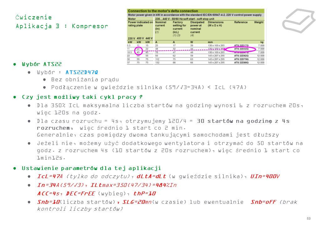 59 Ćwiczenie Aplikacja 3 : Kompresor Wybór ATS22 Wybór : ATS22D47Q Bez obniżania prądu Podłączenie w gwieździe silnika (59/3=34A) < IcL (47A) Czy jest