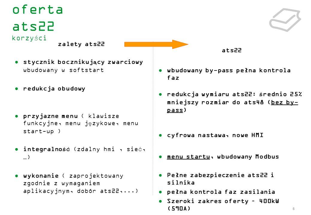 17 zintegrowany stycznik bocznikujący by-pass funkcja ograniczenia prądowego silnika wybór typu zatrzymania silnika (poprzez wybieg lub zwalnianie na rampie) opcja podłączenia ATS22 do zacisków trójkąta silnika (wersja Q) kontrola momentu oraz forsowanie napięcia przy starcie – adaptacja do wymagań aplikacji funkcja boost podwójna funkcja parametryzacji silnika (podstawowa i zaawansowana) zabezpieczenie cieplne silnika : całka silnika I²t, Softstartera, PTC, SCR (mostek tyrystorowy z zabezpieczeniem termicznym) … zabezpieczenie przed przeciążeniem i niedociążeniem.