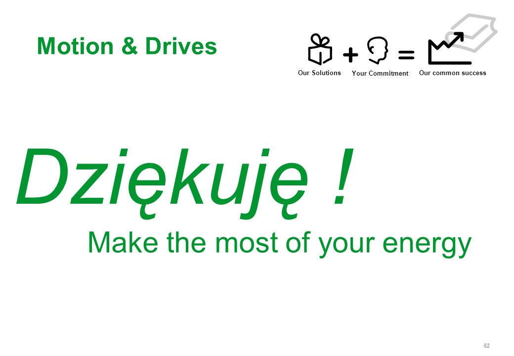 62 Dziękuję ! Motion & Drives Make the most of your energy Our Solutions Your Commitment Our common success