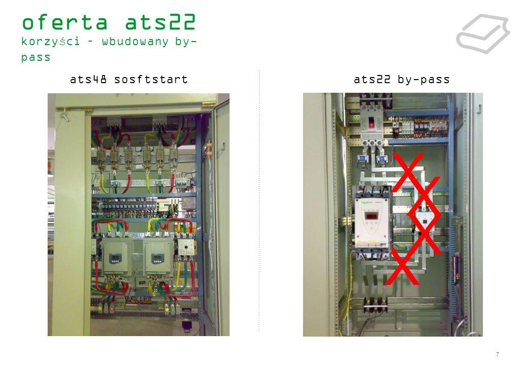 8 redukcja kosztów redukcja komponentów (contactors, bars, external current measurement, …) mniejsza liczba połączeń i przewodów redukcja przestrzeni obudowy zmniejszenie rozmiarów (redukcja o 30%) redukcja sekcji chłodzenia efektywność energetyczna redukcja wydzielanego ciepła – wydajny radiator&wentylator prosty dobór jedna referencja ats22 oszczędność .