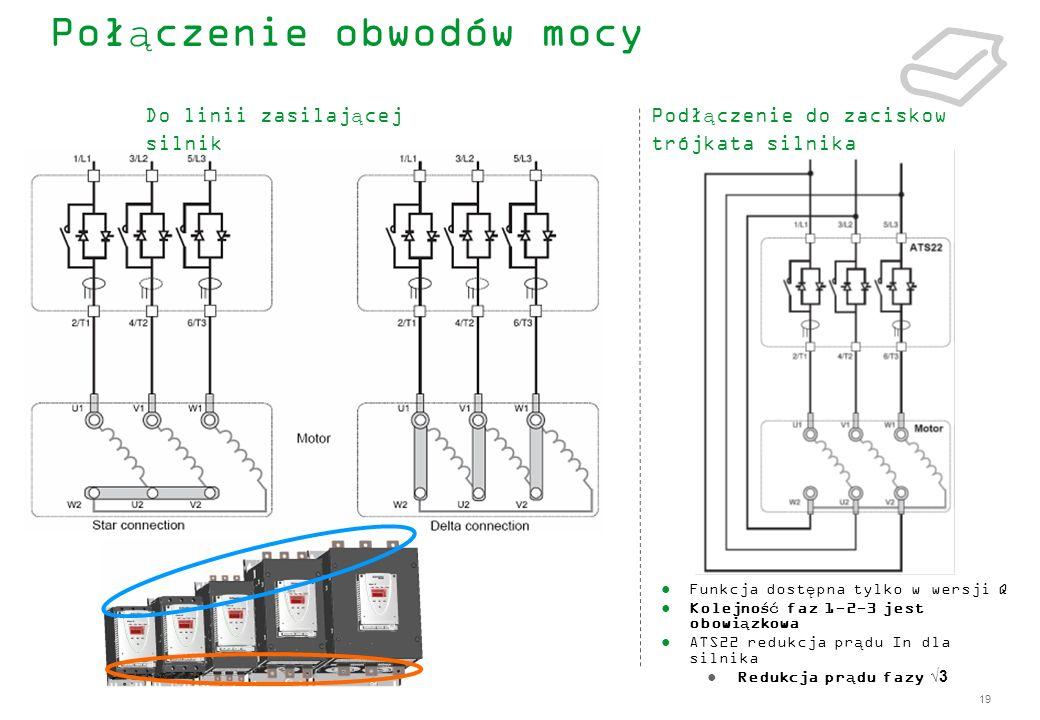 19 Połączenie obwodów mocy Funkcja dostępna tylko w wersji Q Kolejność faz 1-2-3 jest obowiązkowa ATS22 redukcja prądu In dla silnika Redukcja prądu f