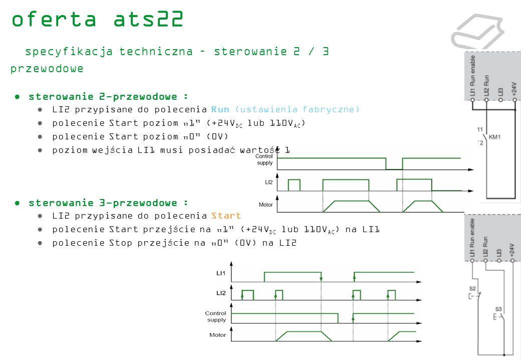 24 sterowanie 2-przewodowe : LI2 przypisane do polecenia Run (ustawienia fabryczne) polecenie Start poziom 1 (+24V DC lub 110V AC ) polecenie Start po