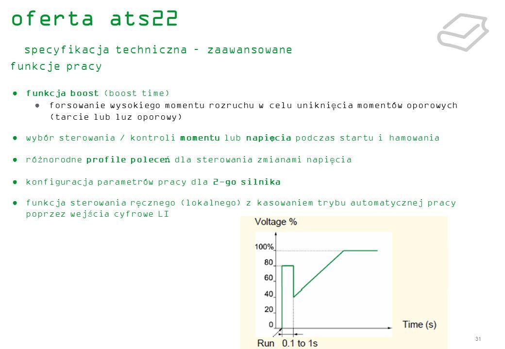 31 funkcja boost (boost time) forsowanie wysokiego momentu rozruchu w celu uniknięcia momentów oporowych (tarcie lub luz oporowy) wybór sterowania / k