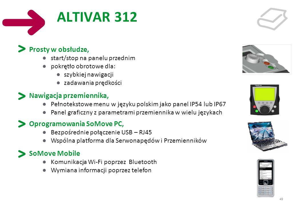 49 ALTIVAR 312 Prosty w obsłudze, start/stop na panelu przednim pokrętło obrotowe dla: szybkiej nawigacji zadawania prędkości Nawigacja przemiennika,
