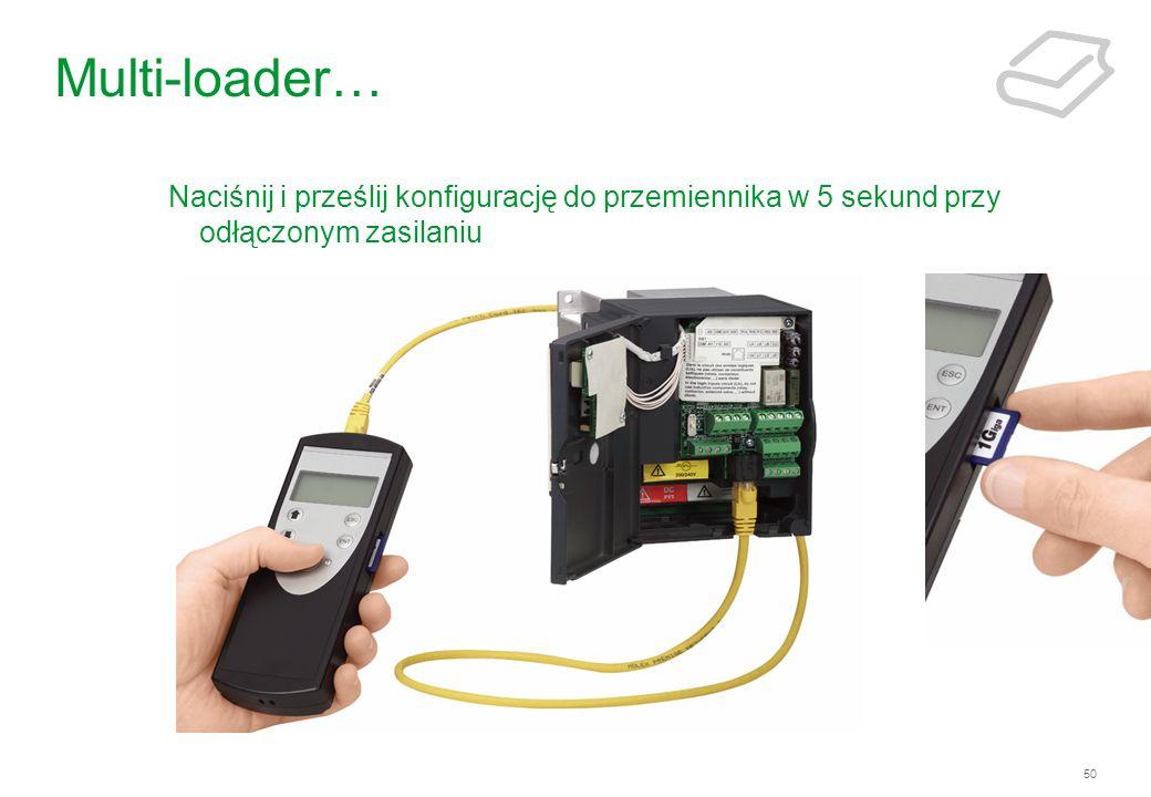 50 Multi-loader… Naciśnij i prześlij konfigurację do przemiennika w 5 sekund przy odłączonym zasilaniu