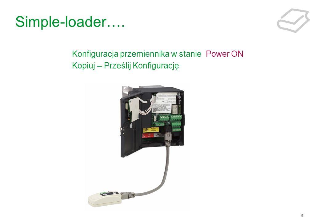 51 Simple-loader…. Konfiguracja przemiennika w stanie Power ON Kopiuj – Prześlij Konfigurację