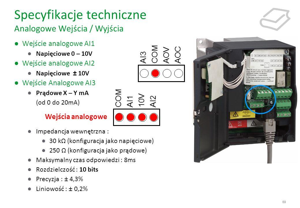 69 Specyfikacje techniczne Analogowe Wejścia / Wyjścia Wejście analogowe AI1 Napięciowe 0 – 10V Wejście analogowe AI2 Napięciowe ± 10V Wejście Analogo
