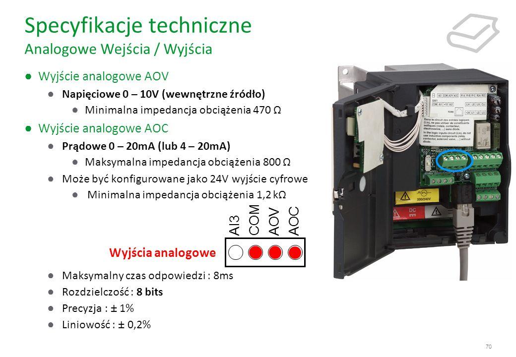 70 Specyfikacje techniczne Analogowe Wejścia / Wyjścia Wyjście analogowe AOV Napięciowe 0 – 10V (wewnętrzne źródło) Minimalna impedancja obciążenia 47