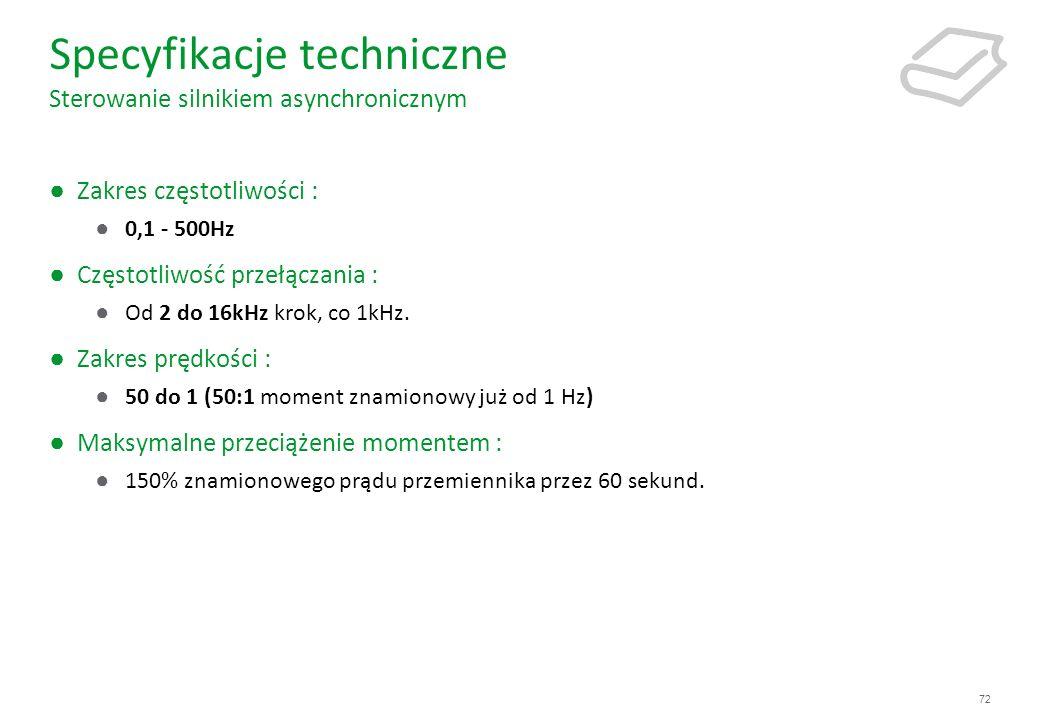 72 Specyfikacje techniczne Sterowanie silnikiem asynchronicznym Zakres częstotliwości : 0,1 - 500Hz Częstotliwość przełączania : Od 2 do 16kHz krok, c