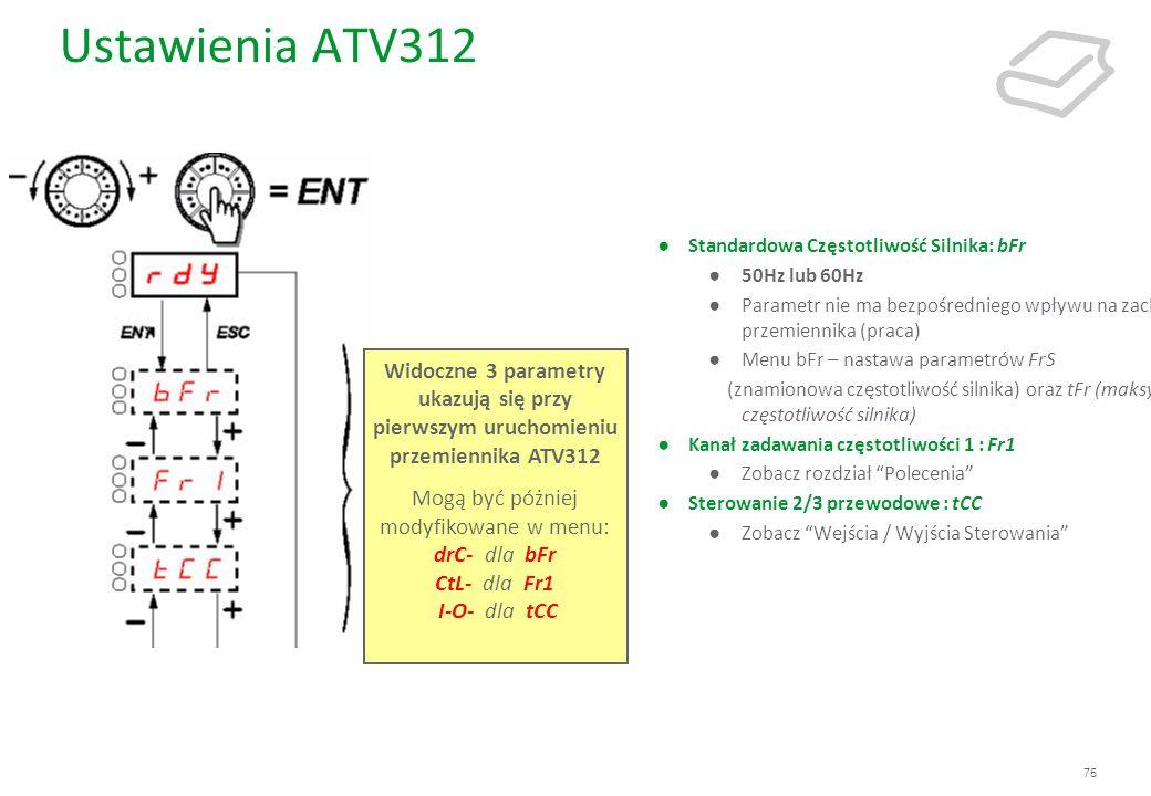75 Ustawienia ATV312 Standardowa Częstotliwość Silnika: bFr 50Hz lub 60Hz Parametr nie ma bezpośredniego wpływu na zachowanie przemiennika (praca) Men